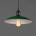 Industrial Bowl Shade Pendant Light 1 Light Metal Hanging Lamp in Green for Kitchen Hallway