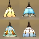 Dining Table Small Pendant Light Stained Glass 1 Light 6 Inch Tiffany Style Hanging Lamp