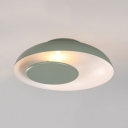 Restaurant Bowl Shade Ceiling Light Metal Nordic Style Macaron Colored LED Flush Mount Light