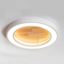 Wood Round LED Flush Mount Light Simple Style Candy Colored Ceiling Lamp in Warm White/White for Restaurant