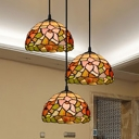 Rustic Style Floral Theme Ceiling Light 3 Lights Stained Glass Flush Light for Dining Table