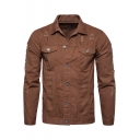Mens New Trendy Basic Solid Color Distressed Ripped Long Sleeve Button Down Slim Fit Denim Jacket