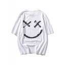Popular Smile Face Pattern Round Neck Unisex Casual Oversized T-Shirt