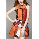 New Unique Fashion Geometric Pattern Stand Collar Sleeveless Mini A-Line Orange Dress