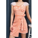 Summer Girls Fashion Orange Plaid Pattern Bow-Tied Waist Sheath Asymmetrical Dress