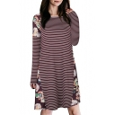 Trendy Floral Striped Pattern Basic Round Neck Long Sleeve Mini Shift Dress