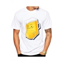 Cute Funny Cartoon Beer Cup Pattern Short Sleeve Round Neck White Tee