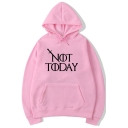 Cool Sword Letter NOT TODAY Pattern Long Sleeve Unisex Sport Loose Hoodie