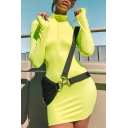 Hot Fashion Simple Solid Color Zipper High Neck Long Sleeve Mini Bodycon Dress