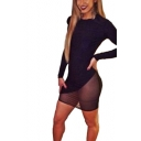 Fashion Black Mesh Patched Round Neck Long Sleeve Mini Bodycon Night Club Dress