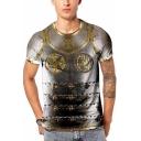 Cool 3D Iron Pattern Mens Round Neck Short Sleeve Grey T-Shirt