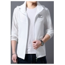 Mens Unique Fashion Letter Printed Hooded Long Sleeve Zip Up Sport Fitted Lightweight Jacket