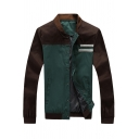 Mens Casual Cotton Simple Colorblocked Long Sleeve Stand Collar Snap Button Down Front Fitted Jacket