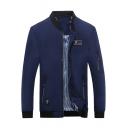 Basic Stand Collar Long Sleeve Fashion Zip Pocket Zipper Front Slim Fit Business Jacket for Men