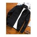 Mens Simple Solid Color Stand Collar Long Sleeve Zip Up Slim Fleece Sweatshirt Jacket