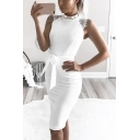 Hot Popular Chic Eyelash Lace Patched Sleeveless Tied Waist Midi White Bodycon Dress