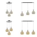 3 Lights Globe Pendant Light Morocco Style Glass Suspension Light in Chrome/Blue for Hallway