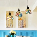 Bloom/Dragonfly/Phoenix Tail Ceiling Pendant Antique Style Stained Glass Hanging Light for Restaurant