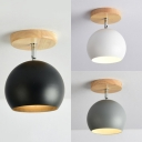 1 Light Globe Semi Flush Mount Light Modern Metal Ceiling Light in Black/Gray/White for Bedroom