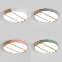 Warm/White Lighting Flush Mount Light Modern Candy Color Ceiling Lamp with Rectangle Wood for Dining Room