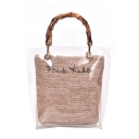 New Fashion Letter Printed Bamboo Handle Transparent Tote Shoulder Bag Beach Bag 23*27*9 CM
