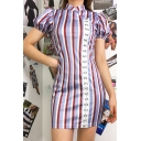 Vintage Chinese Style Stand Collar Puff Short Sleeve Vertical Striped Blue Mini Sheath Cheongsam Dress