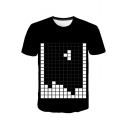 Funny Game Tetris 3D Printed Round Neck Short Sleeve Black T-Shirt