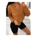 Womens Simple Plain V-Neck Long Sleeve Loose Fit Pullover Cropped Sweatshirt