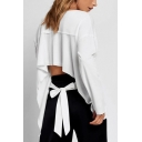 Trendy Hollow Out Tied Back Round Neck Long Sleeve Casual Loose White Sweatshirt