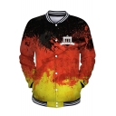 Cool 3D Splash-Ink Painting Rib Stand Collar Long Sleeve Button Down Red Baseball Jacket