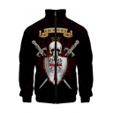 Cool Crown Skull Pattern Stand Collar Long Sleeve Zip Up Black Jacket