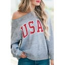 Popular Simple Letter USA Printed Oblique Cold Shoulder Long Sleeve Grey Casual Sweatshirt