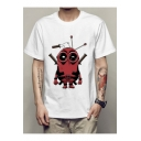 Funny Robot Pattern Basic Round Neck Short Sleeve White Tee