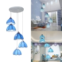 5 Lights Bowl Hanging Light Mediterranean Stylish Art Glass Ceiling Pendant in Blue for Villa