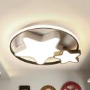 Simple Style White Flush Mount Light Heart/Star Acrylic LED Ceiling Light in Warm/White for Kid Bedroom