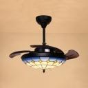 3 Blade Grid Dome Semi Flushmount Light Mediterranean Style Art Glass LED Ceiling Fan for Bedroom