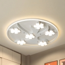 White Flower&Tree LED Flush Mount Light Modern Acrylic Ceiling Lamp in Warm/White for Child Bedroom