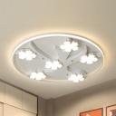 White Flower&Tree LED Flush Mount Light Modern Acrylic Ceiling Lamp in Warm/White for Child Bedroom