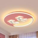 Animal Swallow Ceiling Mount Light Eye-Caring LED Flush Light in Warm/White for Kid Bedroom