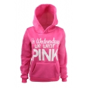 IN WEDNESDAYS WE WEAR PINK Letter Print Loose Fit Pullover Rose Red Hoodie