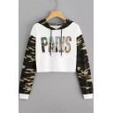 Cool Letter PARIS Camo Print Long Sleeve Loose Fit Cropped White Hoodie