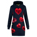 Cool Heart Pattern Long Sleeve Navy Longline Fitted Hoodie