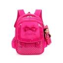 opular Letter Heart Print Bow-knot Doll Pendant Embellishment School Backpack for Girls 30*21*40 CM