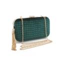 Women's Fashion Solid Color Plaid Pattern Tassel Embellishment Velvet Evening Clutch Bag 20*5*11.5 CM