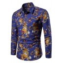 Men's Vintage Dragon Printed Spread Collar Long Sleeve Slim Fit Button Up Shirt