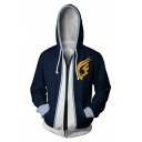 Fashion Comic Cosplay Costume Long Sleeve Zip Front Sport Blue Hoodie