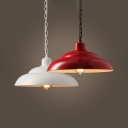 Double Bubble Restaurant Hanging Lamp Metal Single Light Industrial Pendant Light in Red/White