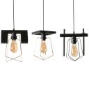 Coffee Shop Edison Bulb Pendant Lamp Metal 1 Light Retro Loft Black Suspension Light with Wire Frame