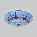Tiffany Blue Ceiling Mount Light with Beads 19.5 Inch 4 Lights Glass Ceiling Fixture for Kindergarten