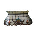 4 Lights Skirt Hanging Lamp Tiffany Victorian Stained Glass Suspension Light in Beige for Shop